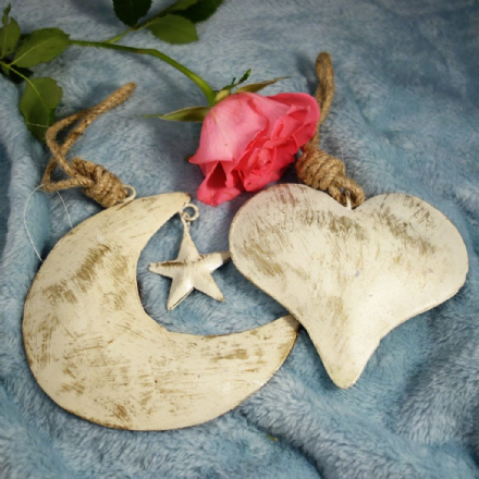 20% OFF Gold whitewash heart and moon & Star